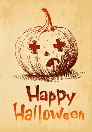 Happy Halloween pumpkin Jack OLantern drawn in a sketch style
