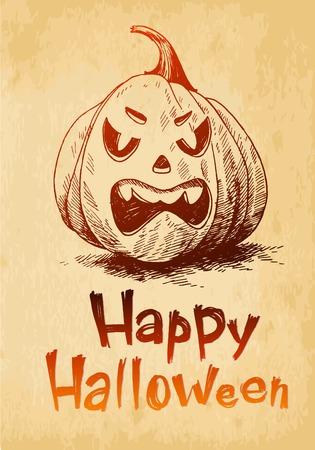 Happy Halloween pumpkin Jack OLantern drawn in a sketch style Vector