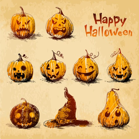 Halloween pumpkins Jack OLanterns drawn in a sketch style Vector