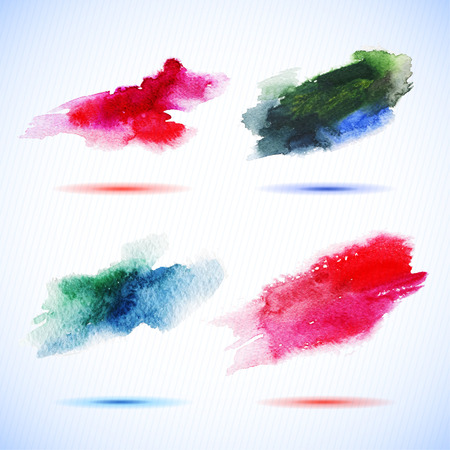intensity: Vector watercolor stains decorative wash drop set. Abstract hand drawn watercolor background, for backgrounds or textures