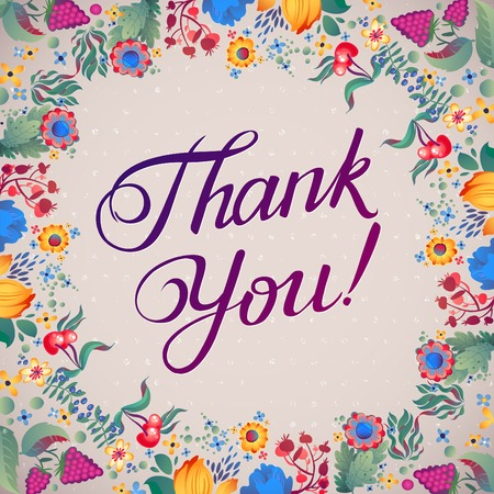Thank You Abstract Floral Background  Callygraphy. THANK YOU hand lettering -- handmade calligraphy Ilustração
