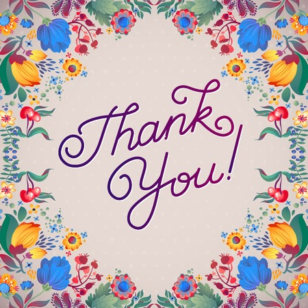 typography signature: Thank You Abstract Floral Background  Callygraphy. THANK YOU hand lettering -- handmade calligraphy Illustration