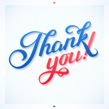 quotation: THANK YOU hand lettering -- custom handmade calligraphy, vector Illustration