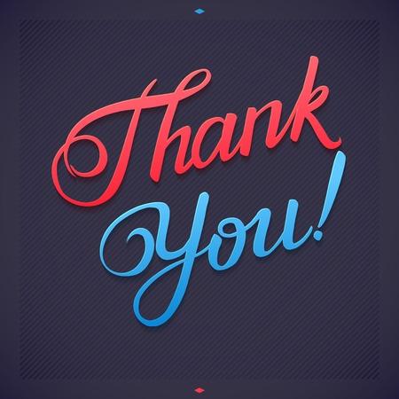 THANK YOU hand lettering -- custom handmade calligraphy, vector Vector