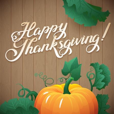 thanksgiving day symbol: Happy foglie Giorno del Ringraziamento e zucca banner su sfondo di legno. vegetali zucca con foglie verdi illustrazione vettoriale Vettoriali