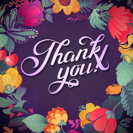 Thank you card in bright colors. Stylish floral background with text, berries, leaves and flower Vector
