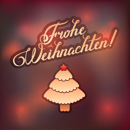 MERRY CHRISTMAS  inscription in German language hand lettering -- handmade calligraphy, vector