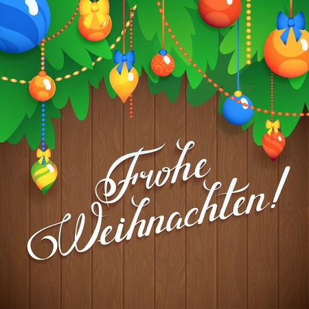 MERRY CHRISTMAS  inscription in German language hand lettering -- handmade calligraphy, vector Vector