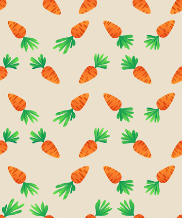 Carrot  Seamless Pattern. Carrots for Easter Bunny. Vector seamless texture with a lot of cartoon carrots