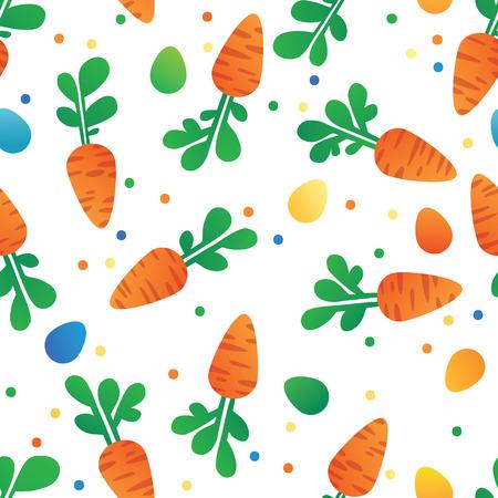 zanahoria caricatura: Zanahoria del Este y del patr�n huevos sin fisuras. Zanahorias para Conejo de Pascua. Textura incons�til del vector con un mont�n de zanahorias de dibujos animados