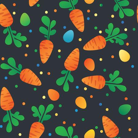 zanahoria de caricatura: Zanahoria del Este y del patr�n huevos sin fisuras. Zanahorias para Conejo de Pascua. Textura incons�til del vector con un mont�n de zanahorias de dibujos animados