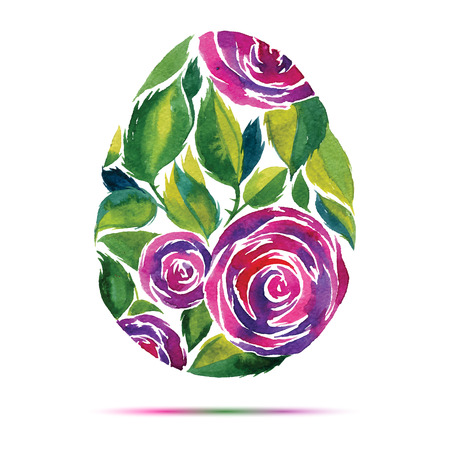 Happy Easter  greeting card or invitation. Happy Easter! Watercolor flower rose egg Vector