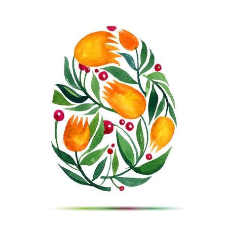 Plantilla para la tarjeta de felicitación de Pascua o la invitación. Feliz Pascua! Acuarela tulipanes flor de huevo