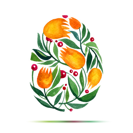 Template for Easter  greeting card or invitation. Happy Easter! Watercolor flower tulips egg Ilustração