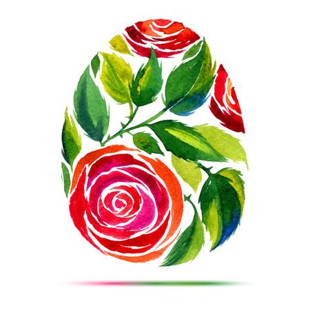 행복 한 부활절 인사말 카드 또는 초대장. 행복한 부활절! 수채화 꽃은 계란을 장미 일러스트