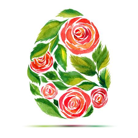 ハッピー イースターのグリーティング カードや招待状のテンプレートです。幸せなイースター!水彩花バラ卵  イラスト・ベクター素材