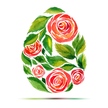 Template for  Happy Easter  greeting card or invitation. Happy Easter! Watercolor flower rose egg Illustration