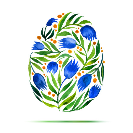 Template for Easter  greeting card or invitation. Happy Easter! Watercolor flower tulips egg Illustration