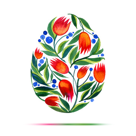 Template for Easter  greeting card or invitation. Happy Easter! Watercolor flower tulips egg Vettoriali