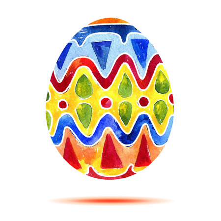 Vector greeting card Happy Easter, watercolor colourful easter egg with shadow Vettoriali
