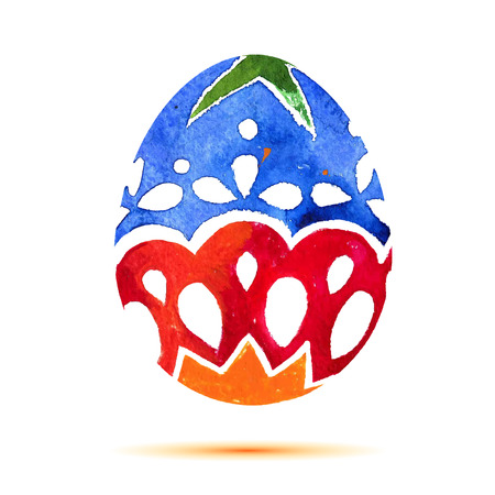 Vector greeting card Happy Easter, watercolor colourful easter egg with shadow