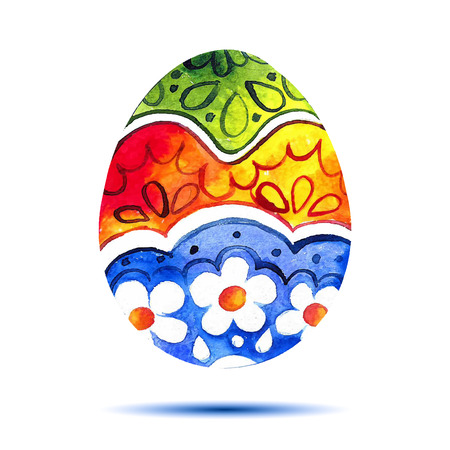 Vector greeting card Happy Easter, watercolor colourful easter egg with shadow  イラスト・ベクター素材