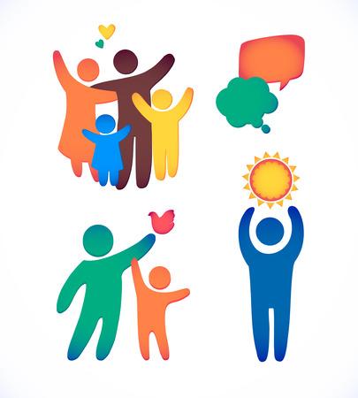 Icône de famille heureuse multicolore en simple jeu de chiffres. Enfants, papa et maman se tiennent ensemble. Vecteur peut être utilisé comme logotype Logo