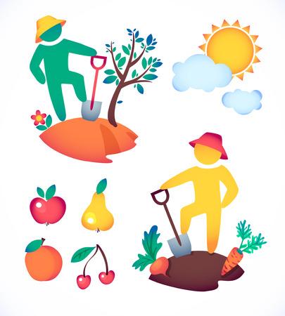 illustrazione uomo: illustrazione vettoriale uomo piantare un albero e ammirare il sole. giardiniere e il suo giardino sotto il sole caldo