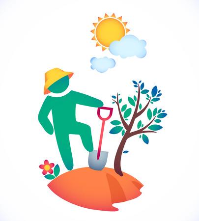 baum pflanzen: Vektor-Illustration Mann einen Baum zu pflanzen und genie�en Sie die Sonne. Garten unter der hei�en Sonne