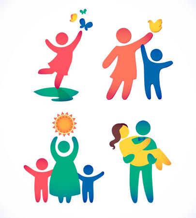 Gelukkige familie pictogram veelkleurige in eenvoudige figuren set. Kinderen, vader en moeder staan samen. Vector kan worden gebruikt als logo