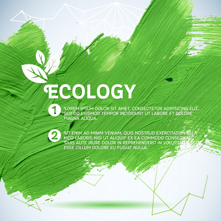 backdrop: Hand painted green brush strokes background. Green painted background. Vector illustration for fresh natural design. Ecology backdrop. Illustration