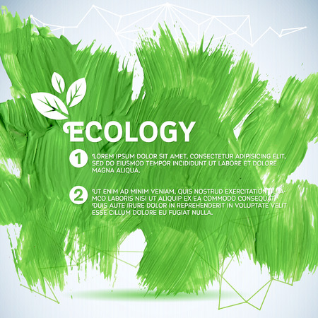 Green painted background.  Vector illustration for fresh natural design. Ecology backdrop. Vector