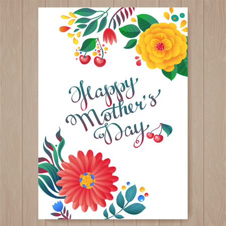 Happy mothers day hand-drawn lettering.  Happy Mothers Day Typographical Background With Spring Flowers