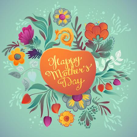Día de madre feliz dibujado a mano de la caligrafía. Feliz Día de la Madre Fondo tipográfico con flores de primavera Foto de archivo - 39510842