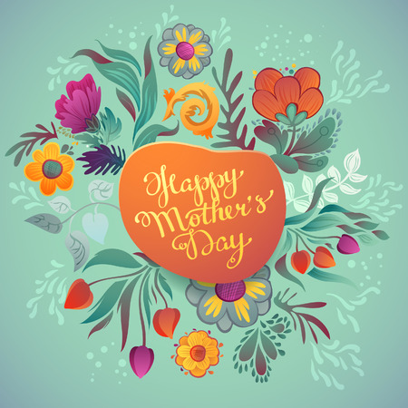 Happy mothers day hand-drawn calligraphy. Happy Mothers Day Typographical Background With Spring Flowers