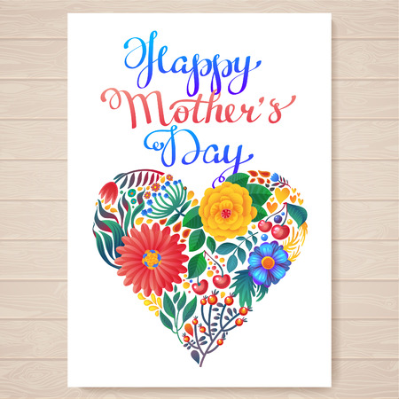 Happy mothers day hand-drawn lettering.  Happy Mothers Day Typographical Background With Spring Flowers Vector