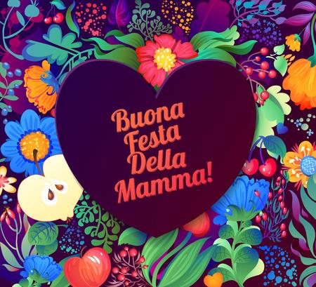 Tarjeta de felicitación feliz del día de madres inscripción italiano Foto de archivo - 39510894