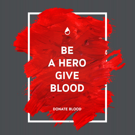 urgencias medicas: Creativo Donar sangre motivación poster información de los donantes. Donación De Sangre. Mundial del Donante de Sangre Día bandera. Movimiento rojo y el texto. Elementos de diseño médica. Textura Grunge.