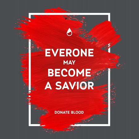 Creative Donate blood motivation information donor poster. Blood Donation. World Blood Donor Day banner. Red stroke and text. Medical design elements. Grunge texture.