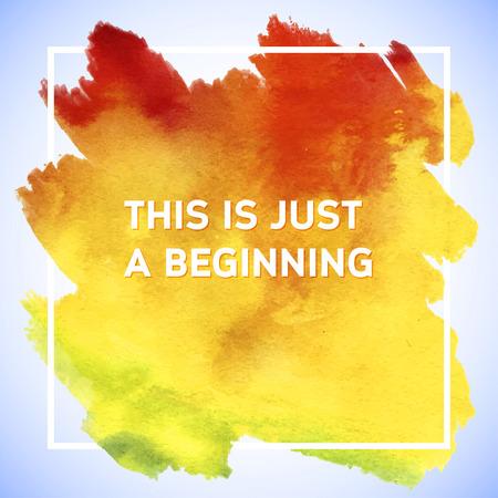 이것은 단지 시작 의욕 사각형 아크릴 스트로크 포스터입니다. 영감 말의 텍스트 문자. 인쇄상의 포스터 템플릿, 벡터 디자인 견적 일러스트