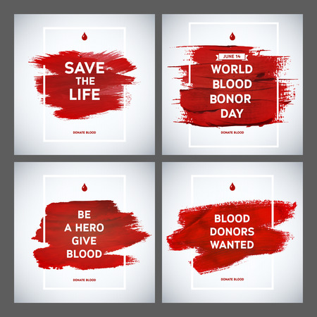 stain: Creative Blood Donor Day motivation information donor poster set. Blood Donation. World Blood Donor Day banner. Red stroke and text. Medical design elements. Grunge texture.