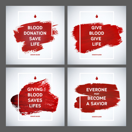 donation: Creative Blood Donor Day motivation information donor poster set. Blood Donation. World Blood Donor Day banner. Red stroke and text. Medical design elements. Grunge texture.