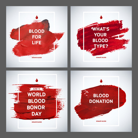 blood: Creative Blood Donor Day motivation information donor poster set. Blood Donation. World Blood Donor Day banner. Red stroke and text. Medical design elements. Grunge texture.
