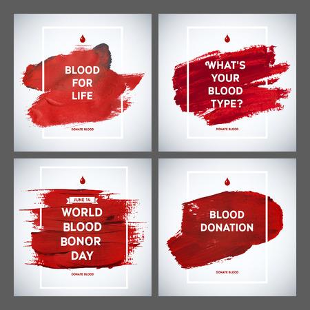 donor: Establece la motivaci�n D�a cartel informativo donante Donante de Sangre Creativa. Donaci�n De Sangre. Mundial del Donante de Sangre D�a bandera. Movimiento rojo y el texto. Elementos de dise�o m�dica. Textura Grunge.