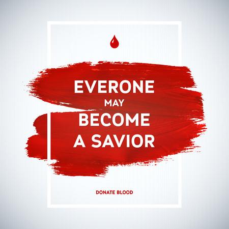 Creatieve Blood Donor Day motivatie informatie donor poster. Bloed donatie. Wereld Bloeddonordag banner. Rode beroerte en tekst. Medische design elementen. Grunge textuur. Stock Illustratie