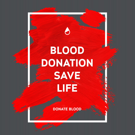 blood: Creative Donate blood motivation information donor poster. Blood Donation. World Blood Donor Day banner. Red stroke and text. Medical design elements. Grunge texture.