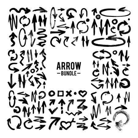 Vector brush stroke ARROW collection vector hand-painted brush stroke arrows collection