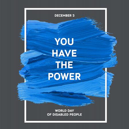 discapacidad: D�a Mundial de la Discapacidad de la tipograf�a de la acuarela del cepillo Dise�o Trazo, ilustraci�n vectorial. Grunge azul Efecto P�ster D�a Importante