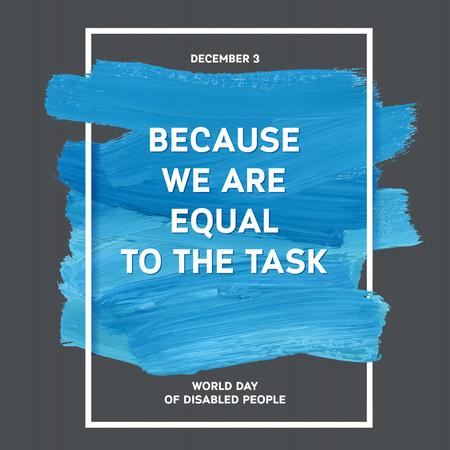 World Disability Day Typography Watercolor Brush Stroke Design , vector illustration. Blue Grunge Effect Important Day Poster Ilustração