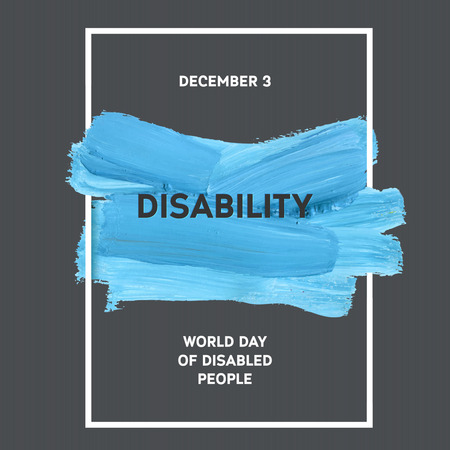 brush stroke: World Disability Day Typography Watercolor Brush Stroke Design , vector illustration. Blue Grunge Effect Important Day Poster Illustration